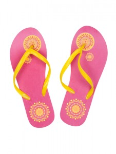 Pink summer beach shoes with a yellow pattern